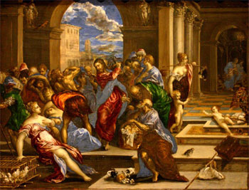 jesus cleanses the temple, el greco